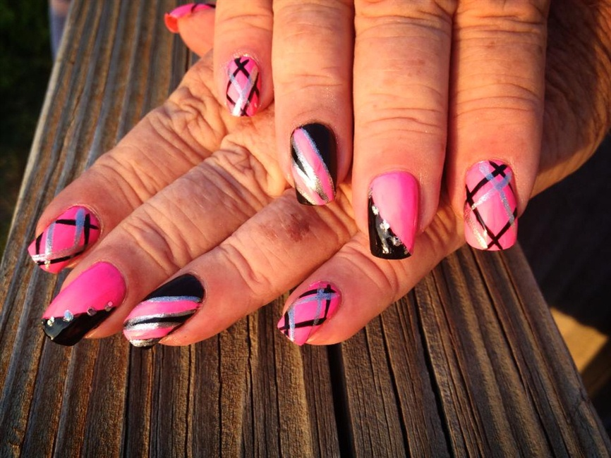 Pink Silver Black Designs Nail Art Gallery