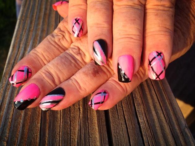 Pink Silver Black Designs Nail Art Gallery