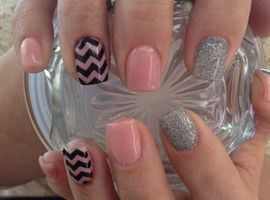 Nude Geometric Glitter Nails