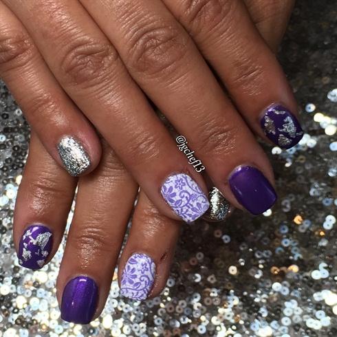 Purple Lace Gel Mani