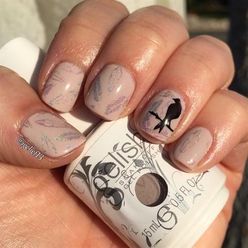 Bird & feather nude gel nails