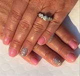 Sheer Pink & Holo Glitter Gel Manicure
