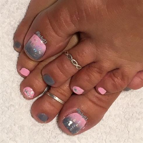 Pink & Gray Pedicure