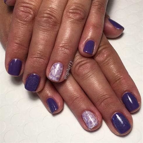 Purple Floral Gel Manicure