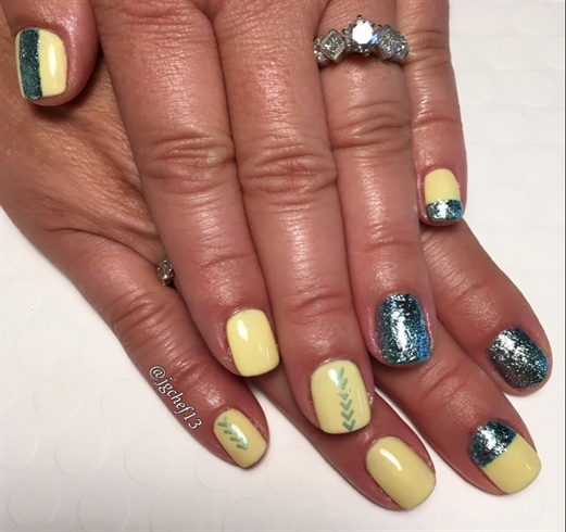 Yellow & Blue Summer Gel Mani