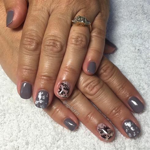 Dragonfly & Silver Leafed Gel Manicure
