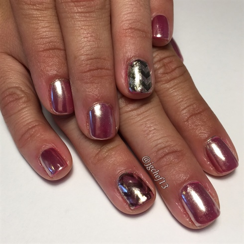 rose gold chrome gel manicure  nail art gallery