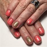 Coral & Gold Gel Manicure
