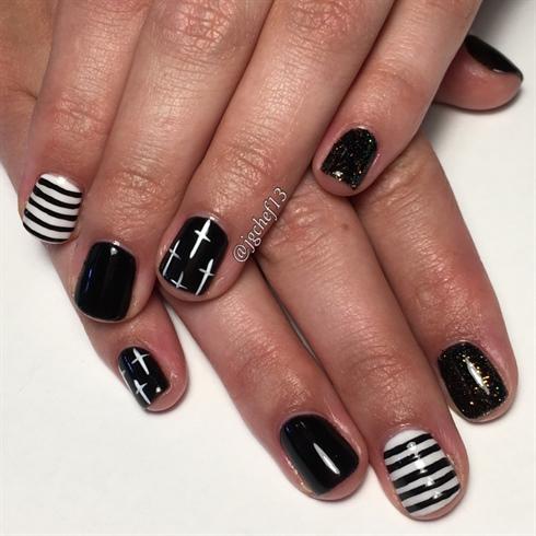 Black & White W/ Rockstar Nails