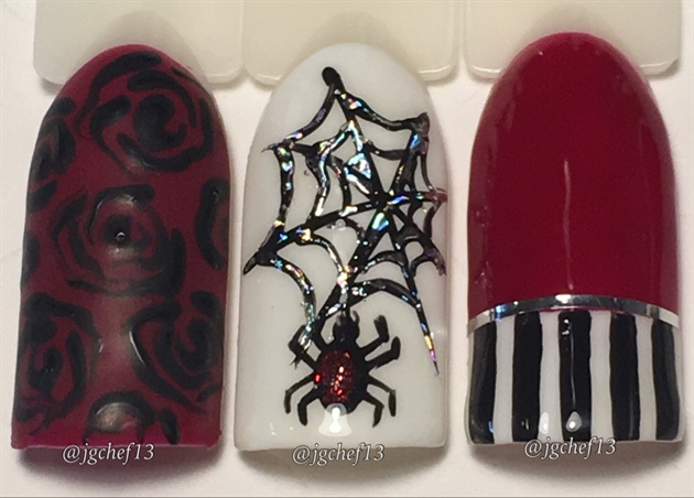 Blood Red, Black & White Halloween Nails