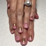 Pink W/ Gold Glitter Ombre Gel Manicure