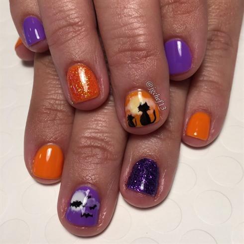 Halloween Bats & Cats Gel Manicure