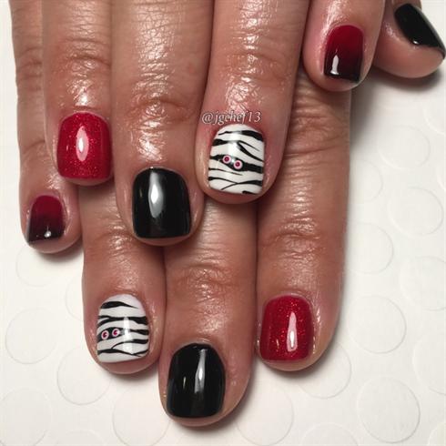 Mummy Halloween Gel Manicure - Nail Art Gallery