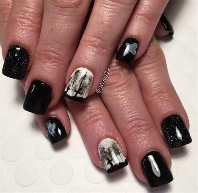 Nail art gallery cross nail art photos black amp white cemetery gel manicure prinsesfo Gallery