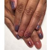 Purple, Pink Glitter & Stamped Manicure