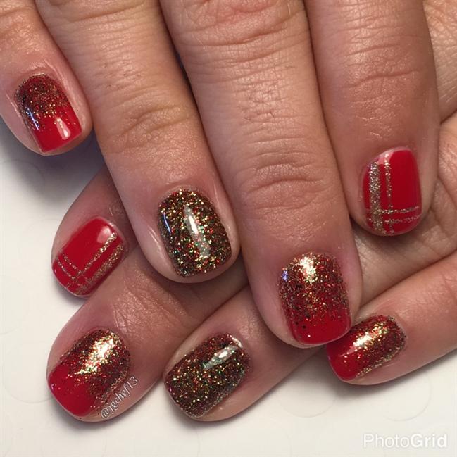 Holiday Red W/ Custom Glitter Mix - Nail Art Gallery