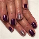 Plum And Glitter Holiday Nails