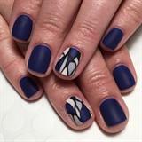 Matte Blue Mosaic Manicure