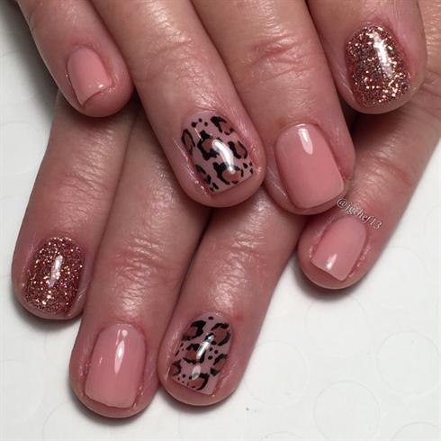 Blush Leopard W Rose Gold Rockstar Nail Art Gallery