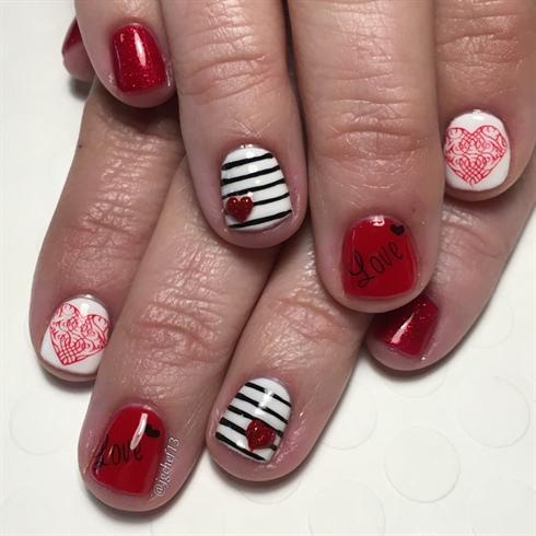hearts  stripes valentine's day mani  nail art gallery