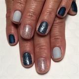Matte Blue Botanical Manicure