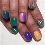 St Patrick's Day Rainbow Ombré Manicure