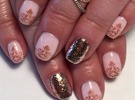 nail art: Pink With Rose Gold Accents