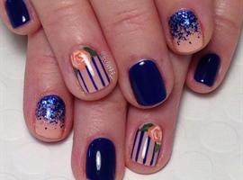 Blue & Peach Striped Floral