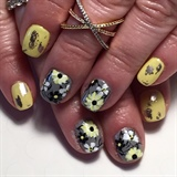Yellow, Gray & Black Floral Gel Manicure