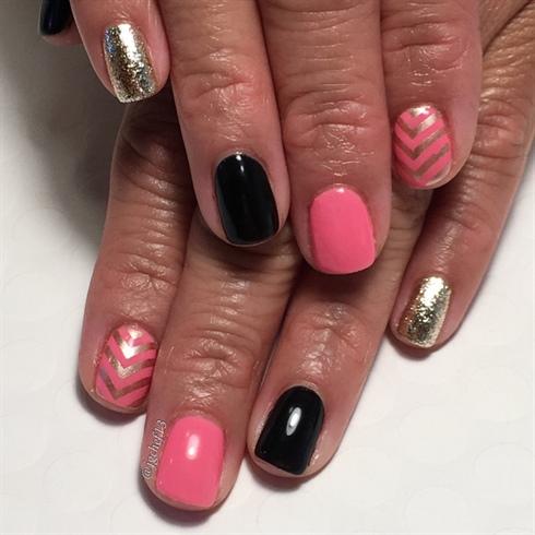 Pink, Black & Gold Mani