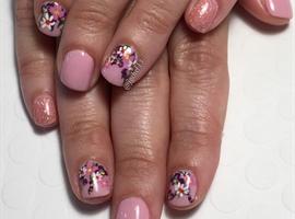 nail art: Flowers & Glitter