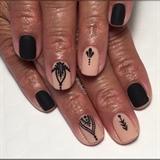 Matte Black & Nude Henna Manicure