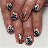 Bright Floral W/ Chevron Manicure