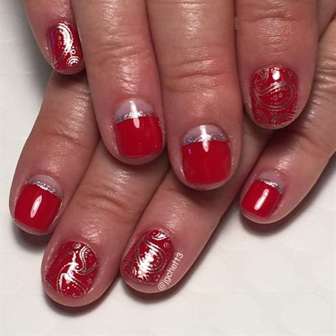 Cherry Red Bandanna Manicure