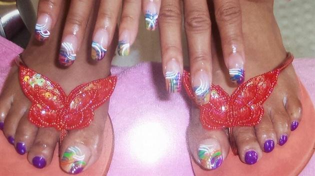 Fullset, and Pedi with nail art