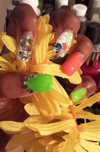 Orange, Nails by Jekeia aka Jade
