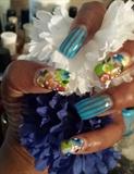 Blu Carnival, one stroke flowers