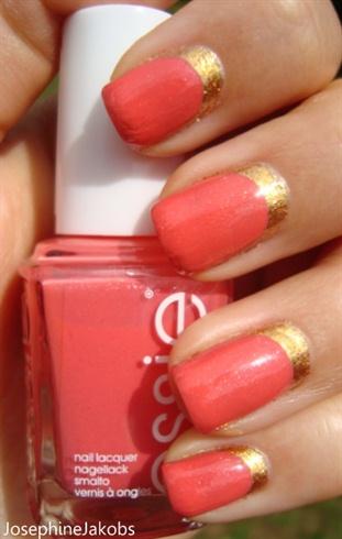 Ruffian manicure (gold-coral)