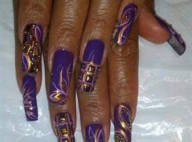 nail art: Studded Purple Rain