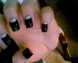 Black and Silver Glitter Reverse Tips