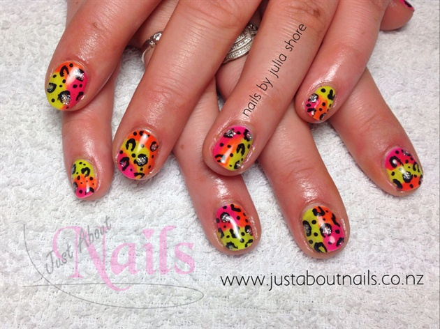 Neon Nails With Animal Print