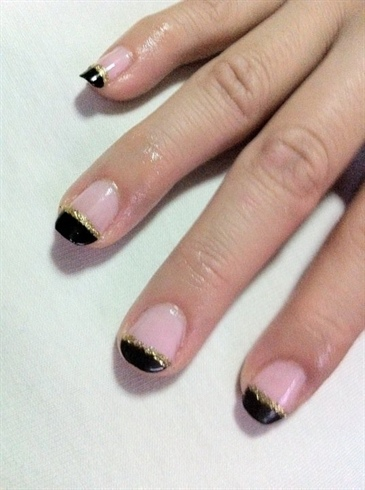 Black French Tip with Gold Glitter