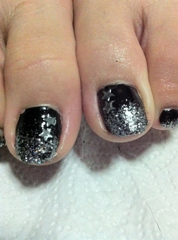 Black fade to Silver Glitter with Stars