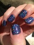Dark Blue Glitter Gel Mani 😍