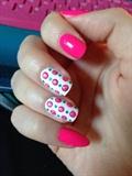 Dots/Neon Pink & White