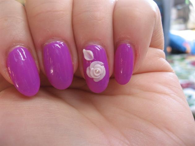 Polish With 3d Nail Art Rose Nail Art Gallery