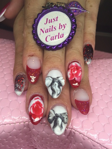 Sculptured Acrylics With 3D Bows