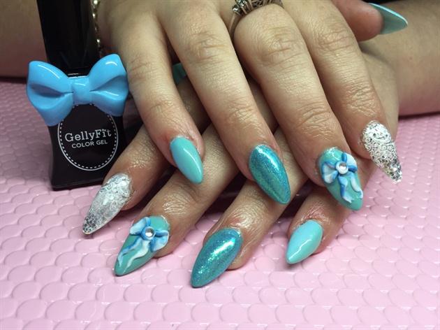 Aqua And Blue Nails