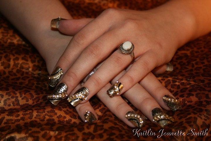 Gold Leopard Bling Nail Art Nail Art Gallery