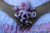 Pink Octopus Bling Artificial Nail Art